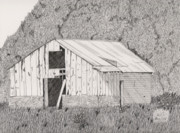 Barn Pen And Ink Drawings Prints - Abandoned Dairy-Oklahoma Print by Pat Price