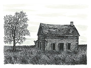 Abandoned House Drawings Prints - Abandoned Farm House Print by Jonathan Baldock