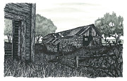 Old Shed Drawings - Abandoned Farm by Jonathan Baldock