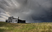 Haunted House Digital Art Metal Prints - Abandoned Farmhouse Saskatchewan Canada Metal Print by Mark Duffy