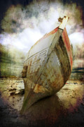 Sepia Digital Art Prints - Abandoned Fishing Boat Print by Meirion Matthias