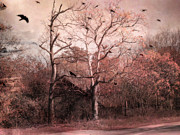 Haunting Surreal Trees Posters - Abandoned Haunted Barn With Crows Poster by Kathy Fornal