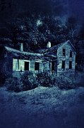 Clapboard House Prints - Abandoned House at Night Print by Jill Battaglia
