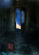 Ashes Posters - Abandoned House on Fire Poster by Jill Battaglia