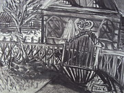 Haunted House Drawings - Abandoned House with Gate by Casey Park