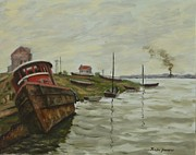 Boats In Water Paintings - Abandoned Hulks by Victor Zucconi