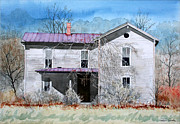 Old Houses Painting Posters - Abandoned Poster by Jim Gerkin