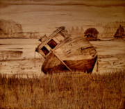 Sepia Pyrography Originals - Abandoned by Jo Schwartz