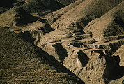Tibet Prints - Abandoned Terraced Fields On Arid Hills Print by Gordon Wiltsie