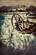 Wagon Photos - Abandoned wagon by old ghost town. by Jill Battaglia