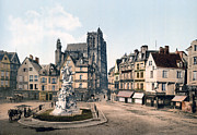 Urban Buildings Posters - Abbeville - France -  St. Vulfran and square of Admiral Courbet Poster by International  Images