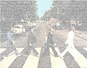 Abbey Road Prints - Abbey Road Beatles Songs Mosaic Print by Paul Van Scott