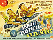 1950s Poster Art Photo Framed Prints - Abbott And Costello Go To Mars, Bud Framed Print by Everett