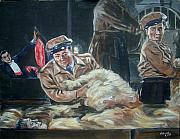 Movies Painting Originals - Abbott and Costello Meet Frankenstein by Bryan Bustard