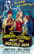 Horror Movies Framed Prints - Abbott And Costello Meet The Invisible Framed Print by Everett