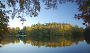 Overhang Prints - Abbotts Pond Fall Reflections Print by Brian Wallace