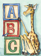 Childrens Prints Paintings - ABC Blocks - Giraffe by Annie Laurie