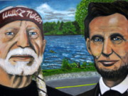 Willie Nelson Painting Originals - Abe and Willie by Joshua Bloch