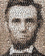 Mosaic Mixed Media Posters - Abe Lincoln Presidents Mosaic Poster by Paul Van Scott