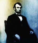 President Mixed Media Prints - Abe Lincoln Seated Print by Bill Cannon