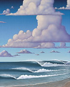 Waves Mixed Media Posters - Abeautiful day at the beach Poster by Tim Foley