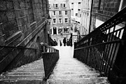Overcast Day Photo Prints - Aberdeen Union Street Back Wynd Stairs Scotland Uk Print by Joe Fox