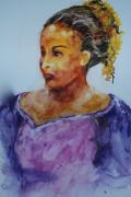 Wet Into Wet Watercolor Prints - Abigail Print by Donna Pierce-Clark