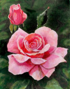 Roses Painting Posters - Abigail Rose Poster by Edward Farber