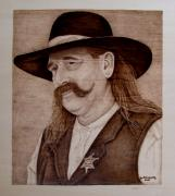 Portrait Pyrography Framed Prints - Abilene Marshal Framed Print by Jo Schwartz