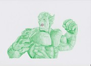 Green Monster Drawings - Abomination by Toni Jaso