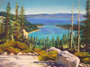 Nevada Pastels Framed Prints - Above Emerald Bay Framed Print by Bonita Paulis