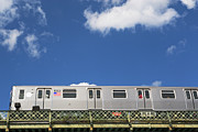 Train On Bridge Prints - Above Ground Subway Cars Print by Fotog1