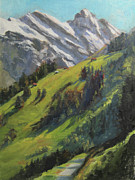 Switzerland Paintings - Above it All Plein Air Study by Anna Bain