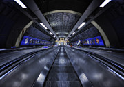 Escalator Metal Prints - Above The Below Metal Print by Evelina Kremsdorf