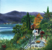 Italian Landscapes Paintings - Above the Garden by Leah Wiedemer
