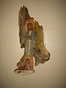 Cedar Sculptures - Abraham  Isaac and the Sacrificial Lamb by Dakota Sage