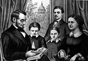 Mary Todd Lincoln Prints - Abraham Lincoln And Family, As Depicted Print by Everett