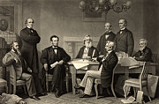 Emancipation Metal Prints - Abraham Lincoln at the first reading of the Emancipation Proclamation - July 22 1862 Metal Print by International  Images