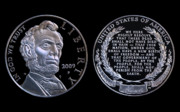 Commemorative Posters - Abraham Lincoln Commemorative Silver Dollar Coin Poster by Randy Steele