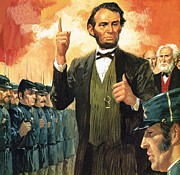 Abraham Lincoln Painting Posters - Abraham Lincoln Poster by English School