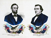 Abraham Lincoln Framed Prints - Abraham Lincoln for President and Andrew Johnson for Vice President Framed Print by International  Images