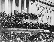 Abraham Lincoln Prints - Abraham Lincoln gives his second inaugural address - March 4 1865 Print by International  Images