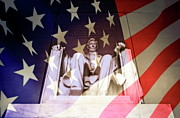 Authority Prints - Abraham Lincoln Memorial blended with American flag Print by Sami Sarkis