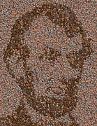 Coins Mixed Media Posters - Abraham Lincoln Penny mosaic Poster by Paul Van Scott
