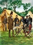 Chair Painting Metal Prints - Abraham Lincoln plans his campaign during the American Civil War  Metal Print by Peter Jackson