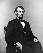 Lincoln Portrait Framed Prints - Abraham Lincoln portrait - used for the five dollar bill - c 1864 Framed Print by International  Images