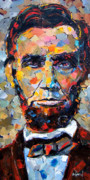 Texture Painting Prints - Abraham Lincoln portrait Print by Debra Hurd