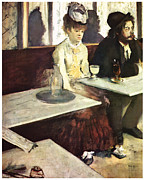 Man And Woman Posters - Absinthe Poster by Edgar Degas