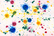 Splats Prints - Abstract - Gesso and Food color - My new carpet Print by Mike Savad