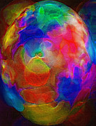 Round Shell Mixed Media Prints - Abstract - The Egg Print by Steve Ohlsen